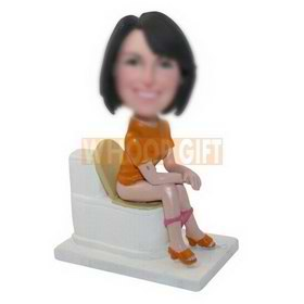 personalized custom woman sitting on a toilet bobbleheads