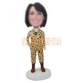 custom female soldier in desert camouflage bobbleheads