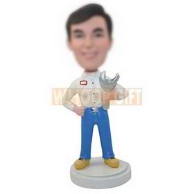 custom worker in uniform with a spanner bobbleheads