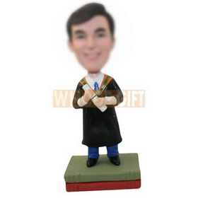 personalized custom graduate in academic dress bobbleheads