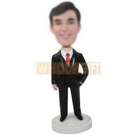 personalized custom salesman in black suit bobbleheads