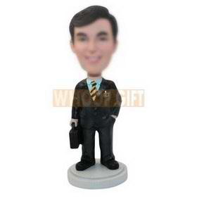 personalized custom businessman with a suitcase bobbleheads