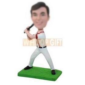 personalized custom baseball player with a baseball bat bobbleheads