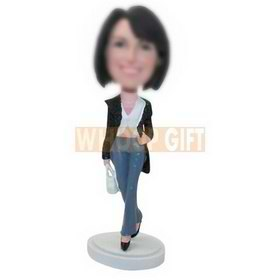 personalized custom fashion lady with a handbag figurines