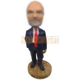 personalized glasses man in blue suit red tie bobbleheads