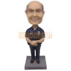 personalized bald officer with badge and interphone bobblehead