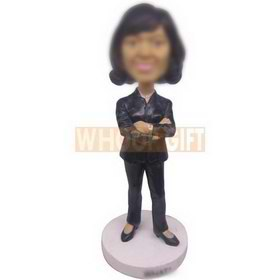 personalized custom female teacher in black suit bobbleheads