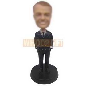 personalized custom male pilot in uniform bobbleheads