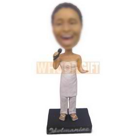 personalized female singer singing with mic in hand bobbleheads