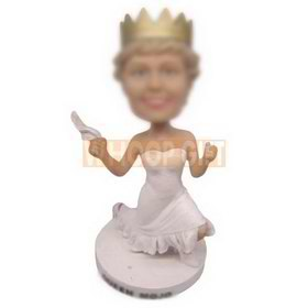 personalized custom beautiful bridesmaid with crown bobbleheads