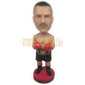 personalized boxer champion wearing gold belt bobbleheads