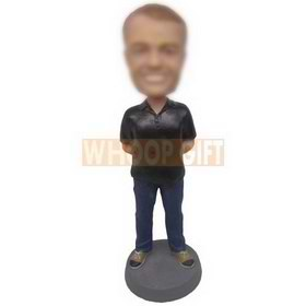 personalized man in black polo shirt and blue jeans bobbleheads