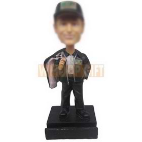 personalized Room Valet wearing leather jacket with clothes in hand bobbleheads