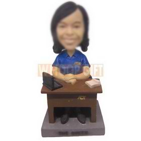 personalized office lady wearing uniform sit at table bobbleheads