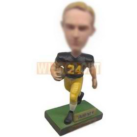 personalized football player sprinting with football bobbleheads