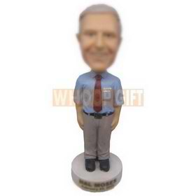 personalized office manager in nice blue shirt bobbleheads