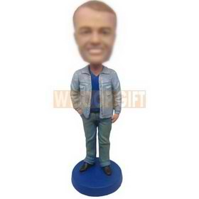 personalized custom handsome guy in jeans bobbleheads