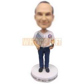 personalized custom sales manger with strategy book in hand bobbleheads