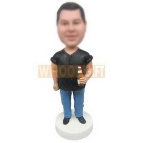 personalized custom chubby guy beer lover with beer in hand bobbleheads