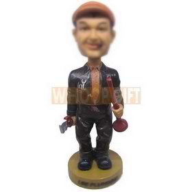 personalized custom plumber with tools in hand bobbleheads