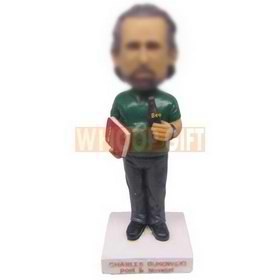 personalized custom poet novelist with a book and beer in hands bobbleheads