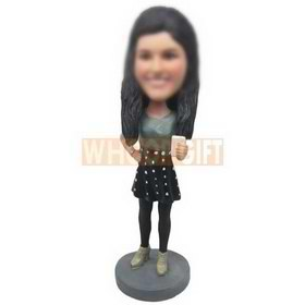 personalized beautiful girl playing with cellphone bobbleheads