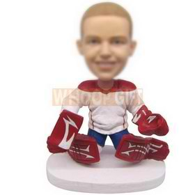 personalized ice hockey goalkeeper bobbleheads