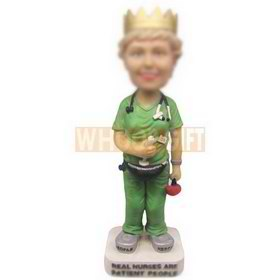 personalized custom nurse wearing crown dressed in green uniform bobbleheads