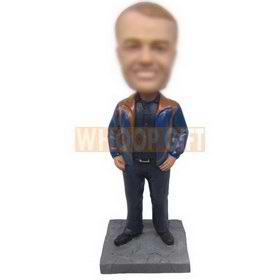 personalized custom man in leisure clothes bobbleheads
