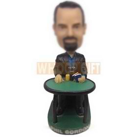 personalized custom big winner gambler sitting at table bobbleheads