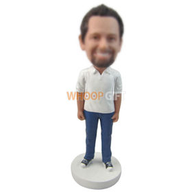 custom man in white polo shirt blue jeans sneakers bobbleheads