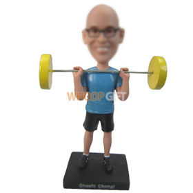 personalized custom weight lifter with barbell bobbleheads