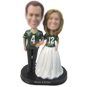 personalized custom wedding cake topper in jersey bobbleheads
