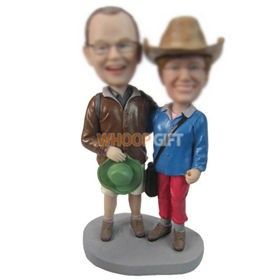 personalized custom couple in outdoor clothing bobbleheads