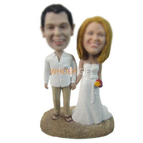 personalized custom bride and bridegroom bobbleheads