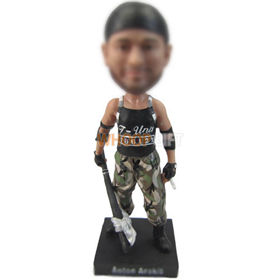 custom soldier with baseball bat and cigarette bobbleheads