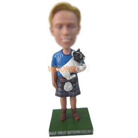 custom man in scottish kilt with cat bobbleheads