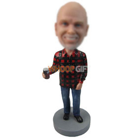 custom man in red and black shirt with a can of drink bobbleheads