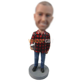 personalized custom man in casual shirt bobbleheads