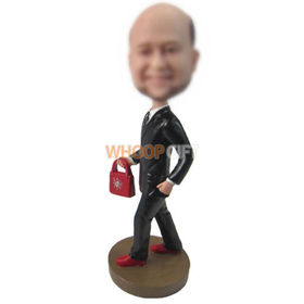 custom man with a red handbag in hand bobbleheads