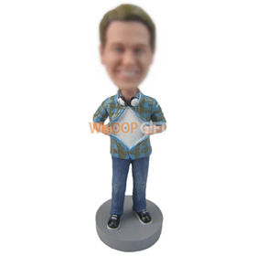 custom man in checked shirt and jeans bobbleheads