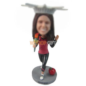 custom woman in crown with torch in hand bobbleheads