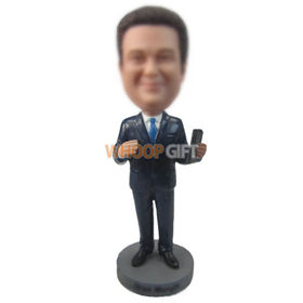 custom businessman in suit with iphone in hand bobbleheads