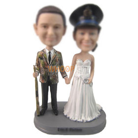 custom police officer couple with gun and handcuff bobbleheads