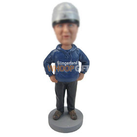 personalized custom man in hoodie and hat bobbleheads