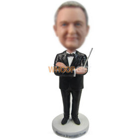 custom manager in black suit with a pointer bobbleheads