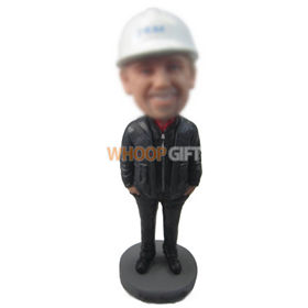 personalized custom worker wearing safety helmet bobbleheads