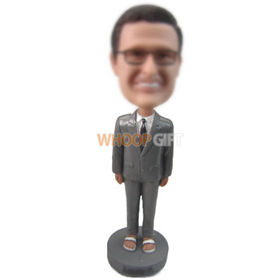 custom businessman in grey suit and slipper bobbleheads