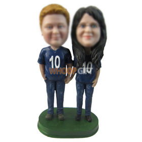custom chubby couple in blue T-shirt and jeans bobbleheads