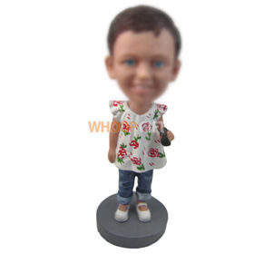 personalized custom cute little girl bobbleheads